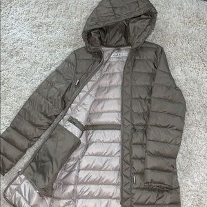 Kenneth Cole Long Taupe Puffer Jacket